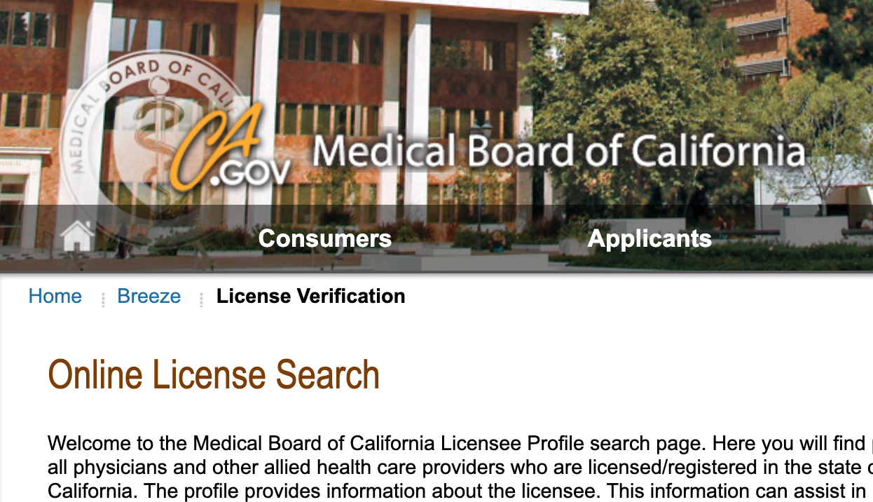 Online license search
